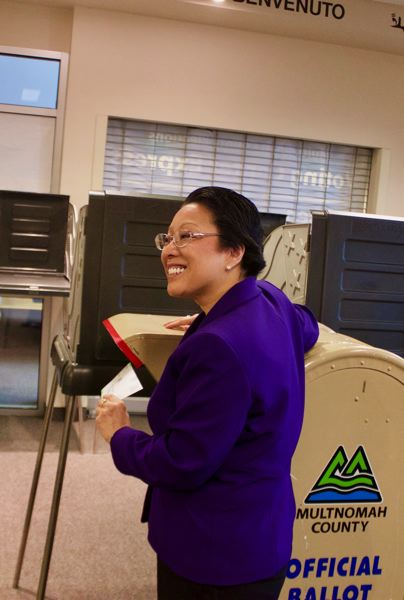 OUTLOOK PHOTO: CHRISTOPHER KEIZUR - Multnomah County Commissioner Lori Stegmann christened the new voting center Monday, Jan. 8.