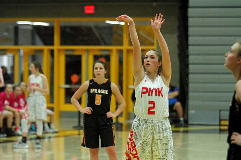 NEWS-TIMES PHOTO: WADE EVANSON - Forest Grove's Kinsey Barnett shoots a free throw during the Vikings' game against Sprague Jan. 12 at Forest Grove High School.