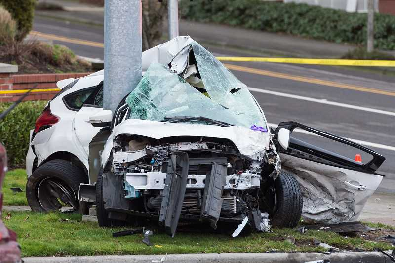 STAFF PHOTO: CHRISTOPHER OERTELL - One person died and multiple others wounded after a three-car crash in Hillsboro on Saturday.