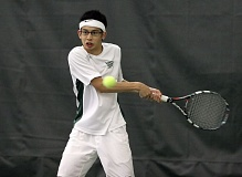 by: MILES VANCE - West Linn's Andre To returns a shot in last weekend's Jesuit Invitational.