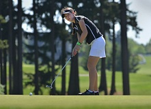 by: VERN UYETAKE - Sarah Archuleta hits a putt during her second-round 71 which propelled her to victory at Stone Creek.