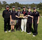 by: SUBMITTED PHOTO - The Scappoose High golf team that won the district competition this week included: Coach Steven Hagen, Taylor Thomas, Nick Nguyen, Alex Lukinbeal, Justin Olbrich, and Tyler Lukinbeal.