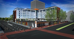 by: HOST ARCHITECTS - Rendering of the remodeled Red Lion as Hotel Eastlund