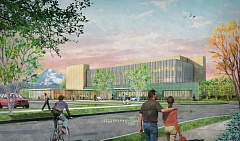 by: CONTRIBUTED BY LEGACY HEALTH - An artists rendition of the exterior of the new outpatient services building at Mount Hood Medical Center.