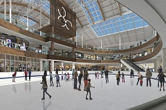 by: WATERLEAF DESIGN - The Lloyd Center ice rink will move slightly east and become more oval as part of a remodel designed to get the community more interested in staying to shop and getting shoppers to watch the ice skating.