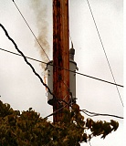 Photo Credit: DAVID F. ASHTON - Its not the electrical transformer on fire, according to PGE; its just burning insulation on shorted electrical wires.