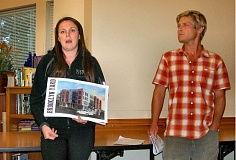 Photo Credit: RITA A. LEONARD - Solterra designer Andrea Wallace and intern Jeff Dellis presented information to the Brooklyn Action Corps neighborhood association about the planned 46-unit, 4-story apartment complex on Milwaukie Avenue just north of McLoughlin Boulevard.