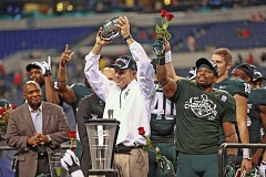 Photo Credit: COURTESY OF MICHIGAN STATE UNIVERSITY - Coach Mark Dantonio and the Michigan State Spartans got to celebrate victory over Stanford after last years Rose Bowl game. This week, theyll be at Autzen Stadium to take on another Pac-12 team, the Oregon Ducks.