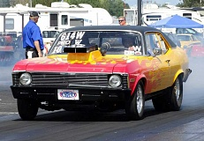 Photo Credit: COURTESY OF WOODBURN DRAGSTRIP - Team Woodburn's' Dynamite' Dave Bronec muscled his 1972 Chevy Nova to seven victories en route to the NHRA Division 6 Summit ET Finals Championship at the Woodburn Dragstrip on Aug. 31.