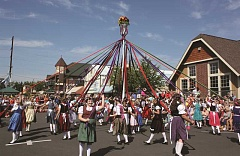 Photo Credit: FILE PHOTO - Webertanz dancers perform a May pole dance at the Bandstand in downtown Mount Angel every day of Oktoberfest at noon.