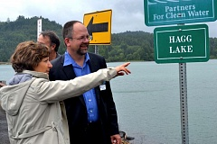 Photo Credit: COURTESY OF CLEAN WATER SERVICES - U.S. Rep. Suzanne Bonamici, county Chair Andy Duyck and other officials toured Hagg Lake and Scoggins Dam in May. The dam could be in line for safety improvements if Congress acts on funding.