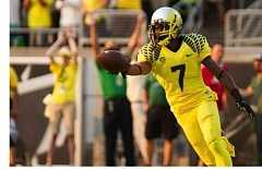 Photo Credit: COURTESY OF DAVID BLAIR - Keanon Lowe, a University of Oregon senior from Jesuit High, is second among Ducks wide receivers in catches, with 13 through four games this season, one behind hurdles champion Devon Allen.