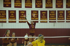 Photo Credit: COURTESY OF MIKE WEBER - Central Catholic's Whitney Turner leap for a block during a volleyball match Tuesday versus Barlow.