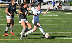 Photo Credit: TIMES PHOTO: MATT SINGLEDECKER - Valley Catholic senior forward Sarah Connelly scored two goals and tacked on an assist to help the Valiants beat Union, 3-2, on Friday.