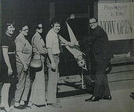 Photo Credit: ARCHIVE PHOTO - 1974: Oregon Pioneer Savings & Loan opened an office in Estacada. Photographed from left: Teller Dorothy Woncert; first depositor, Ione Barr; second depositor, Charlene McCauley; Office Manager Frank Heiple; and Associate Ward V. Cook with the scissors.
