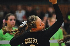 Photo Credit: THE OUTLOOK: DAVID BALL - Corbetts Nicole Herge watches an Estacada kill attempt go past during Tuesdays loss.