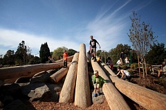 Photo Credit: TRIBUNE PHOTO: JONATHAN HOUSE - The new Natural Play Area at Westmoreland Park was filled with kdis earlier this month during a school in-service day.