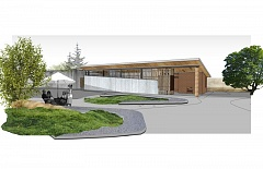 Photo Credit: EMILY DAWSON OF SRG PARTNERSHIP IN PORTLAND - Architect's rendering of a new visitor's center at the Oregon Zoo. The large slab on the roof is cross-laminated timber.