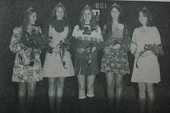 Photo Credit: ARCHIVE PHOTO - Meet Estacada High School's 1974 homecoming court: Queen Janet Akins and princesses Carla Bigej, Kim Lippincott, Sherry Hackenrott and Jodi Sudden.