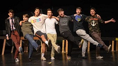 Photo Credit: REVIEW PHOTO: VERN UYETAKE - Lake Oswego High School students do a number during rehearsal, from left: Harrison King, Andrew Firmin, Galileo Pacioni, Nick Harrod, Thomas Curran Taylor Larson and Alec North.