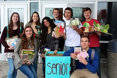 Photo Credit: SUBMITTED PHOTO: EMILY PEARSON - The senior class winners of the HOPE (Helping Other People Everywhere) Club Book Drive at Lakeridge High included, from left: (back row) Elissa Carlson, Kate Kamerman, Salma Kadir, Justin Clark, Timothy Jordan and Will Larson; and (front row) Bridget Delaney and Eric Dungey.