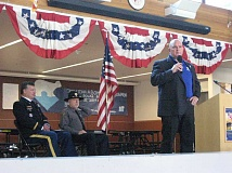 Photo Credit: GAZETTE PHOTO: RAY PITZ -  Jeffery Sinchak speaks about the importance of veterans reaching out after their service and the help provided by the Wounded Warrior Project during a Veterans Day event at Sherwood High School Nov. 11.