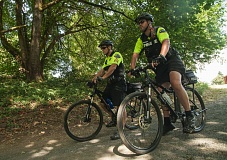 Photo Credit: SPOKESMAN FILE PHOTO: JOSH KULLA - The Wilsonville Police Department stresses community-based policing, including bike patrols, shown here. While not every city can be compared in an apples-to-apples manner, Wilsonville still recorded a much lower violent crime rate than other cities of comparable size across the country in 2013.
