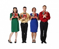 Photo Credit: SUBMITTED PHOTO: PAUL RICH - Megan Carver, Craig Allen, Amy Jo Halliday and Ben Farmer in Broadway Rose Theatres A Christmas Survival Guide.