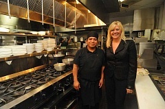 Photo Credit: REVIEW, TIDINGS PHOTO: VERN UYETAKE - Chef Victor Lopez and owner Shari Newman are all smiles about the new kitchen at Nicolettas Table. It greatly helps them expand the service for both restaurant dining and catering.