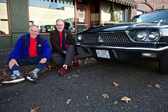 Photo Credit: TIMES PHOTO: JAIME VALDEZ - Joe Roberts and Jim Pickett show off a commemorative plate on the 1966 Ford Thunderbird that took them along the old Route 66 from Chicago to Los Angeles earlier this fall.