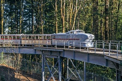 Photo Credit: PHOTOS COURTESY OF MICHAEL DURHAM/OREGON ZOO - The Oregon Zoo finally gets to show off its refurbished trains and trestle track - (above and bottom) the Zooliner and (middle) the Centennial.