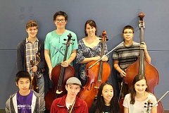 Photo Credit: SUBMITTED PHOTO - Lakeridge's All-State orchestra honor group members include, from left: (back row) Carlo Mery, Eliott Wells, Nora Cyganiak and Harrison Schaffer; and (front row) Albert Wang, Scott Hermanns, Maggie Wu and Bettine Rehr-Zimmermann.