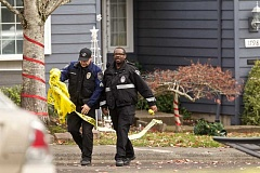 Photo Credit: JAIME VALDEZ - Police investigate a shooting in the 17900 block of Cereghino Lane, in Sherwood