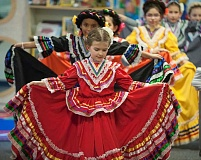 Photo Credit: SPOKESMAN PHOTO: JOSH KULLA - Boeckman Creeks Las Posadas celebration also featured the debut of the schools new Baile Folklorico dance group.