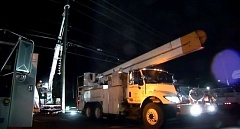 Photo Credit: KOIN 6 NEWS - A PGE crew truck working on power outages caused by Thursday's storm.