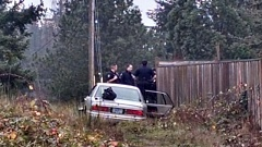 Photo Credit: KOIN 6 NEWS - A man wanted for reckless driving left this Buick in a Hillsboro neighborhood on Saturday.