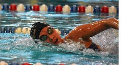 Photo Credit: TIMES PHOTO: MATT SINGLEDECKER - Southridge sophomore girls swimmer Caitlyn Wilson won the 200-yard and 500-yard freestyle during the Skyhawks dual meet with Westview on Thursday.