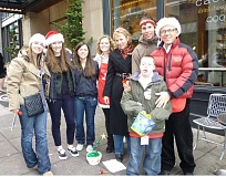 Photo Credit: SUBMITTED PHOTO - The Kerr family and their friends pose for a happy group photo after ringing bells last week (from left): Nellie Kay Kerr, Catherine Northrup, Amelia Garone, Lindsay Middleton, Renee Kerr, Turner Kerr and Bruce Kerr. In front is Eli Kerr.