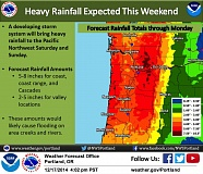 Photo Credit: COURTESY OF THE NATIONAL WEATHER SERVICE - A National Weather Service map shows the potential for heavy rain and flooding in Northern Oregon and Southwest Washington.