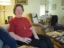 Photo Credit: BARBARA SHERMAN - Billie Reynolds shares a laugh during an interview in her King City home in May 2014; she will join the City Council in 2015.