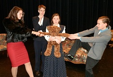 Photo Credit: COURTESY OF THE SCAPPOOSE HIGH SCHOOL DRAMA CLUB - From left, 'The Curious Savage' cast members Clare Kessi, Corey Pierce-Brown, Samantha Darr and Tyler Dietrichs. Darr stars in the comedic play by John Patrick as Ethel P. Savage, a woman who inherits $10 million and is committed to a mental institution by her stepchildren, who want the money for themselves.
