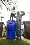 Photo Credit: OUTLOOK PHOTO: TROY WAYRYNEN - The Thornton family celebrates winning free garbage collection for a year!