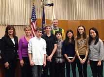 Photo Credit: SUBMITTED PHOTO - Members of the Lake Oswego Junior High debate team gathered at a Town Hall last week hosted by state Rep. Ann Lininger and Lake Oswego City Councilor Jeff Gudman. From left: Lininger, teacher Aletia Cochran, Andrew Johnson, Lance Pancost, Gudman, Noah Slobodin, Amy Wang, Julia Lininger-White, and Doris Yang.