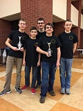 Photo Credit: SUBMITTED PHOTO - The Fellowship of the Robot team consists of five Lake Oswego High School sophomores: Back: Ethan Schaezler; front: AJ Rise, Reed Slobodin, Nic Quattromani, and Jackson Friess. Not pictured: Coach Jim Rise and Assistant Coach Marc Quattromani.