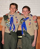 Photo Credit: SUBMITTED PHOTO - Burton and Patrick Jaursch were honored for earning the rank of Eagle Scout during a recent joint Court of Honor Ceremony.
