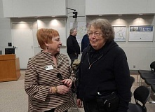 Photo Credit: BARBARA SHERMAN - Following her Feb. 4 town hall, Rep. Margaret Doherty (D-Tigard) (left) chats with longtime Tigard resident Mary Lewis at Tigard City Hall.