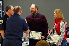 Photo Credit: COURTESY PHOTO - Nathan and Laurie Van Roekel were honored Feb. 10 for saving the life of Troy Van Roekel.