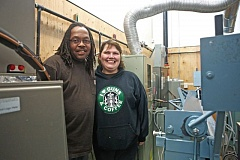 JAIME VALDEZ - Darrell Goodley and Brook Weer, students at Portland Community Colleges new Swan Island Trades Center, just after graduating from a six month certificate program in heating, ventilation and air conditioning installation.