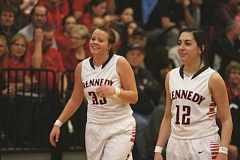 PHIL HAWKINS - Kennedy juniors Kenzie Ratliff (left) and Lakin Susee (right) were picked as Second and First Team All State selections, respectively, after the Trojans finished in fifth place in Pendleton on Saturday.