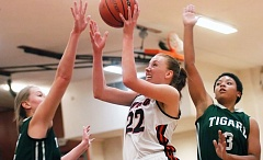 TIMES PHOTO: DAN BROOD - Beaverton senior post Dagny McConnell scored six points to go along with 10 rebounds, five blocked shots and three steals for the Beavers in the second round of the 6A playoffs on Tuesday.